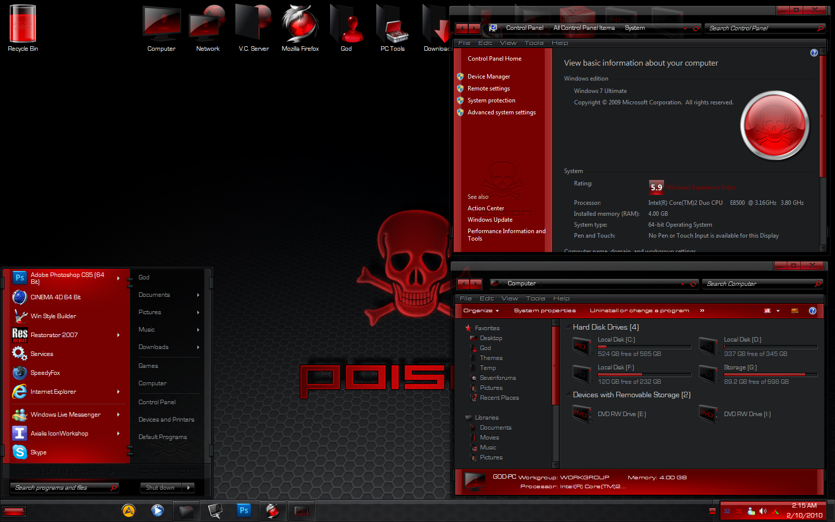 free poison complete windows 7 theme pack