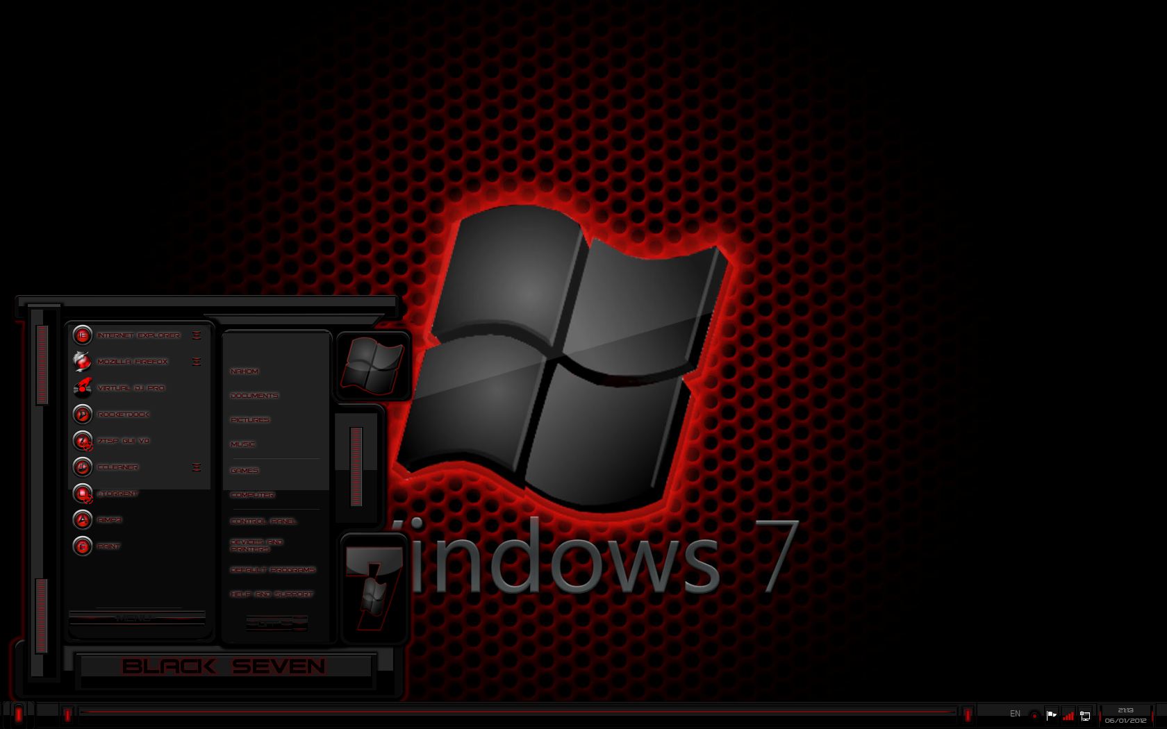 Windows 7 theme black seven (red) by tono3022 on deviantart.