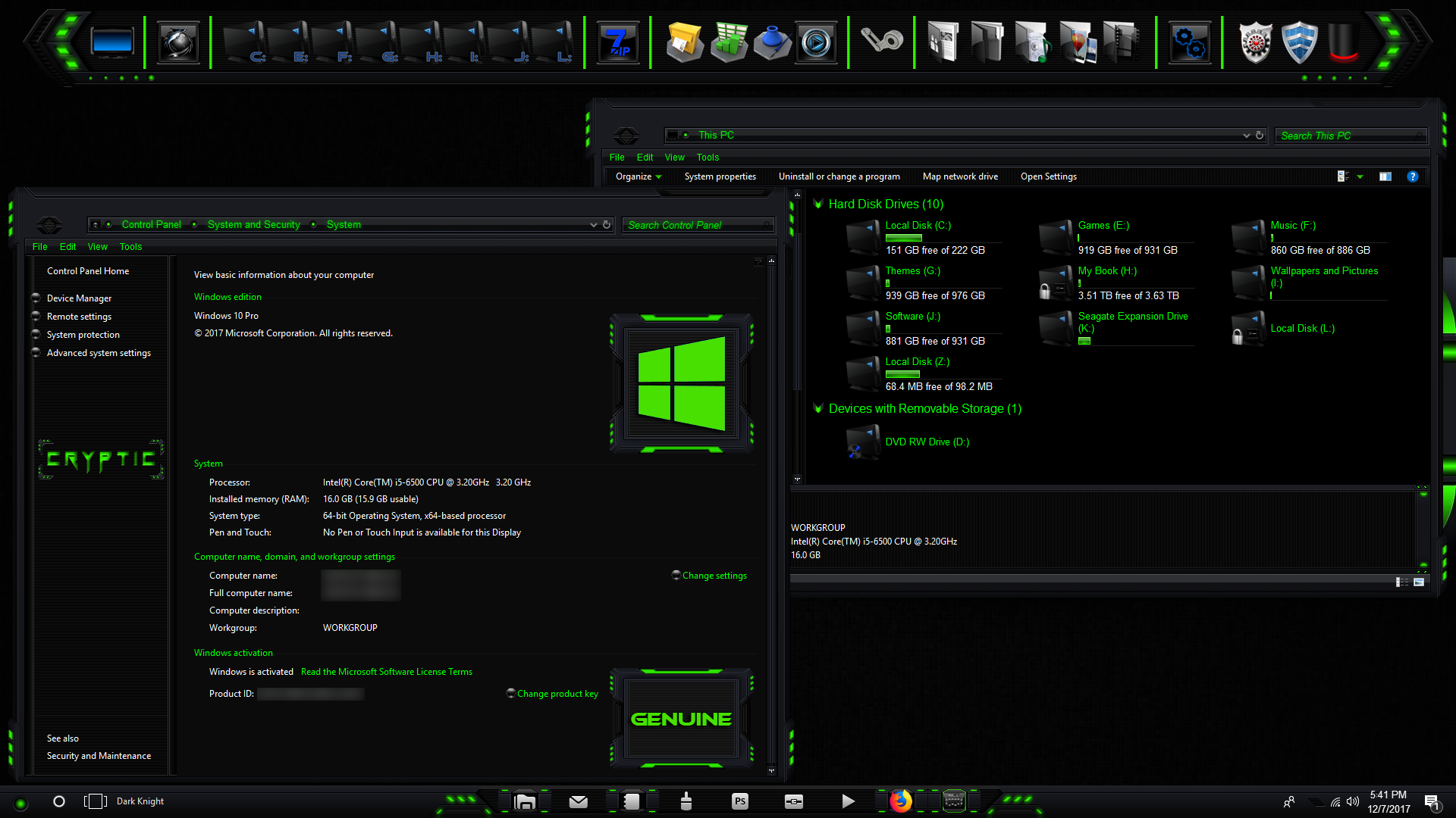 Cryptic Green For Windows 10 1703 - 1803