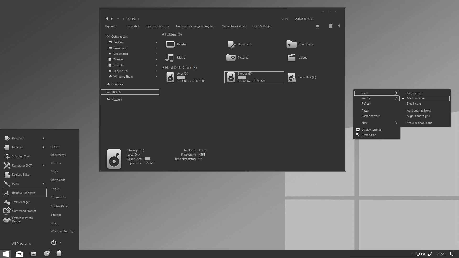 Grey Mode for Window 10 RS5