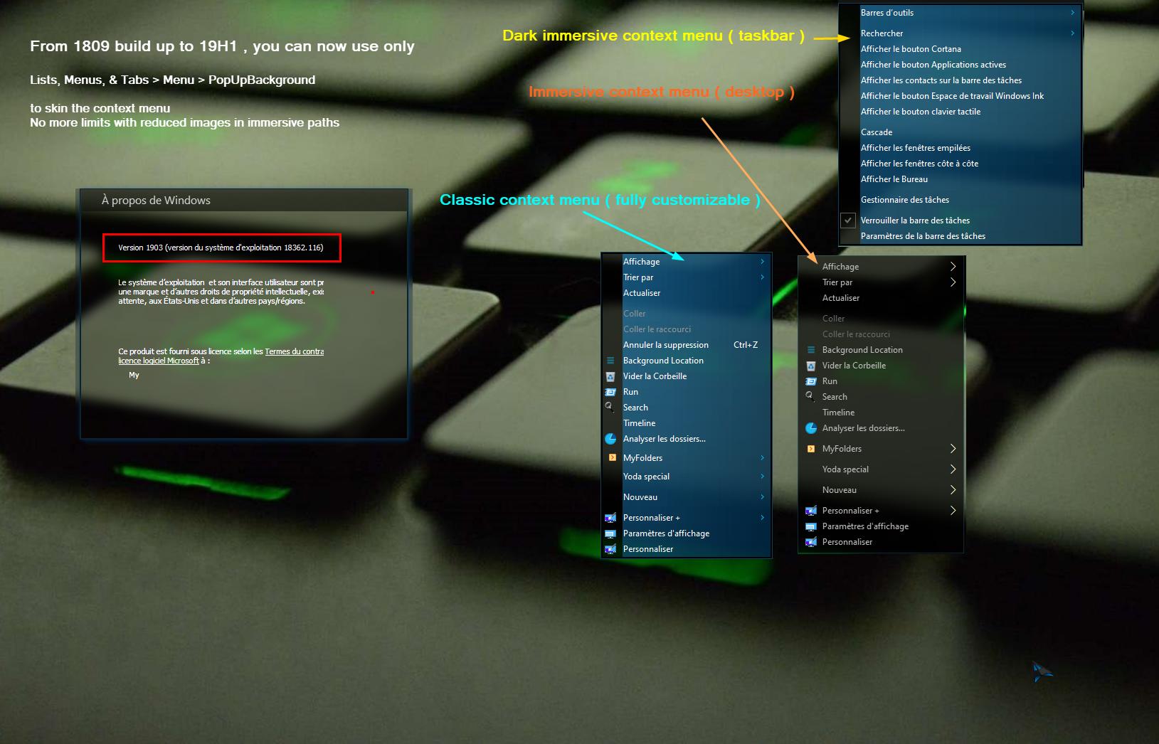1809 Menu bringing back classic desktop context menu for 19h1 ++